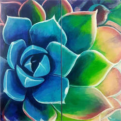 succulent, 24 x 24 inch, masoom sanghi,paintings,flower paintings,paintings for dining room,paintings for living room,paintings for bedroom,paintings for office,paintings for kids room,paintings for hotel,paintings for school,paintings for hospital,multi piece paintings,canvas,acrylic color,24x24inch,GAL057217543