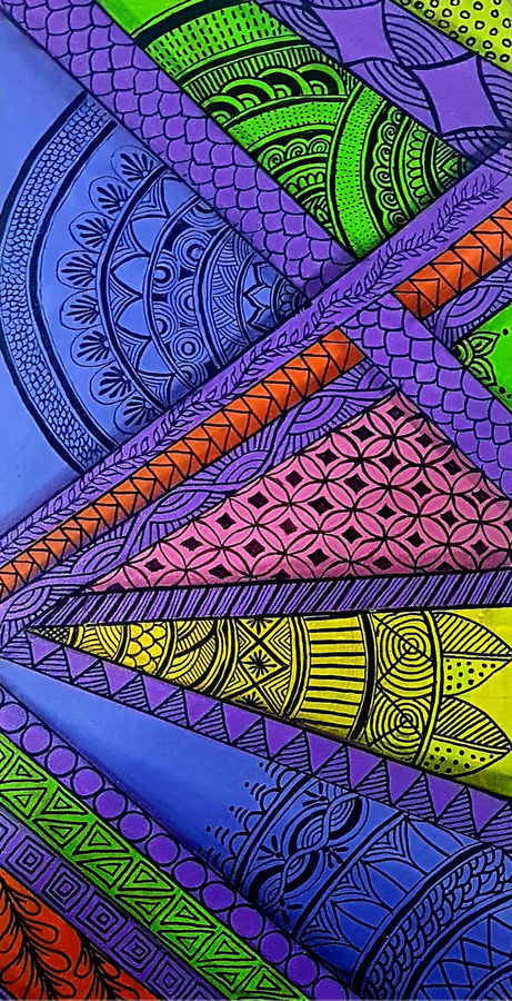 zentangle painting, 12 x 24 inch, masoom sanghi,paintings,abstract paintings,paintings for dining room,paintings for living room,paintings for bedroom,paintings for office,paintings for hotel,paintings for school,paintings for hospital,canvas,acrylic color,12x24inch,GAL057217545