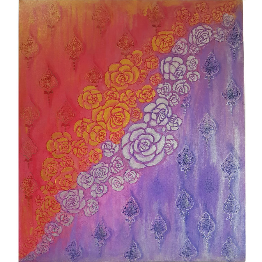 abstract golden and silver roses, 36 x 30 inch, masoom sanghi,paintings,abstract paintings,paintings for dining room,paintings for living room,paintings for bedroom,paintings for office,paintings for hotel,paintings for school,paintings for hospital,canvas board,acrylic color,36x30inch,GAL057217546