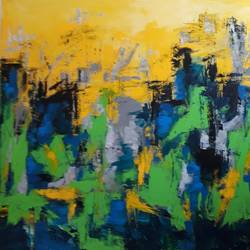 cityscape abstract in green and yellow, 36 x 36 inch, gayatri manchanda,paintings,abstract paintings,cityscape paintings,abstract expressionist paintings,paintings for dining room,paintings for living room,paintings for bedroom,paintings for office,paintings for hotel,paintings for dining room,paintings for living room,paintings for bedroom,paintings for office,paintings for hotel,canvas,acrylic color,36x36inch,GAL0829117552