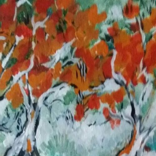 trees aflame, 12 x 16 inch, gayatri manchanda,paintings,abstract paintings,landscape paintings,abstract expressionist paintings,paintings for dining room,paintings for living room,paintings for bedroom,paintings for office,paintings for hotel,paintings for hospital,thick paper,acrylic color,12x16inch,GAL0829117556