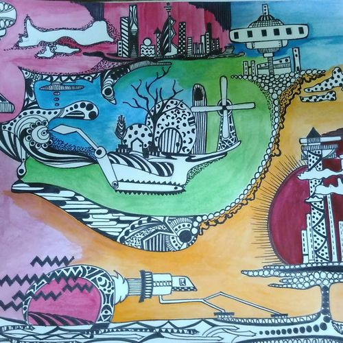 mysticville, 11 x 14 inch, sharanya missula,surrealist paintings,paintings for bedroom,paper,watercolor,11x14inch,GAL06321756