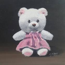 my teddy, 15 x 15 inch, chandrashekhar pant,figurative paintings,paintings for dining room,paintings for living room,paintings for bedroom,kids paintings,paintings for kids room,canvas,acrylic color,15x15inch,GAL0817117564