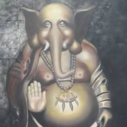 buddhapat, 40 x 24 inch, chandrashekhar pant,paintings for dining room,paintings for living room,paintings for bedroom,paintings for office,ganesha paintings,canvas,oil,40x24inch,GAL0817117565,vinayak,ekadanta,ganpati,lambodar,peace,devotion,religious,lord ganesha,lordganpati,ganpati,ganesha,lord ganesh,elephant god,religious,ganpati bappa morya