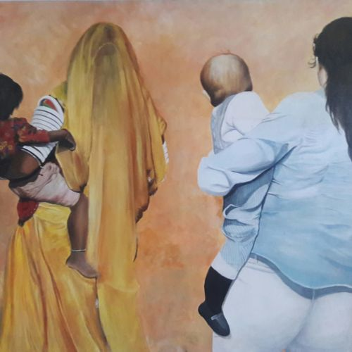 east or west she's the same mother , 48 x 36 inch, chandrashekhar pant,figurative paintings,modern art paintings,paintings for dining room,paintings for living room,paintings for bedroom,paintings for office,canvas,acrylic color,48x36inch,GAL0817117571