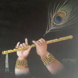 cute flute, 9 x 12 inch, chandrashekhar pant,paintings for dining room,paintings for living room,paintings for bedroom,paintings for office,radha krishna paintings,paintings for hospital,canvas,oil,9x12inch,GAL0817117572,krishna,flute,music,lordkrishna