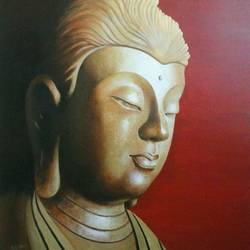 golden peace, 32 x 42 inch, chandrashekhar pant,buddha paintings,paintings for dining room,paintings for living room,paintings for bedroom,paintings for office,canvas,acrylic color,32x42inch,peace,meditation,meditating,buddha,idol,red,gold,gautam,goutam,religious,GAL0817117578,peace,lordbuddha,inner,lordface,gautaum,golden