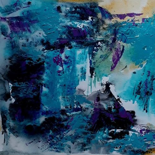 blue and gold abstract, 12 x 18 inch, gayatri manchanda,paintings,abstract paintings,abstract expressionist paintings,paintings for dining room,paintings for living room,paintings for bedroom,paintings for office,paintings for hotel,thick paper,acrylic color,12x18inch,GAL0829117579