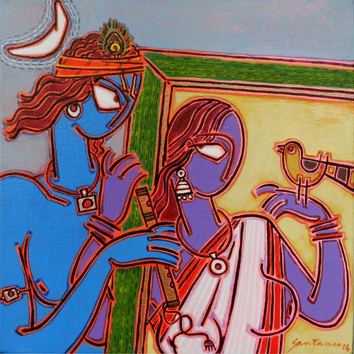 in a frame 2, 12 x 12 inch, santanu nandan dinda,figurative paintings,paintings for living room,canvas,acrylic color,12x12inch,GAL07051758