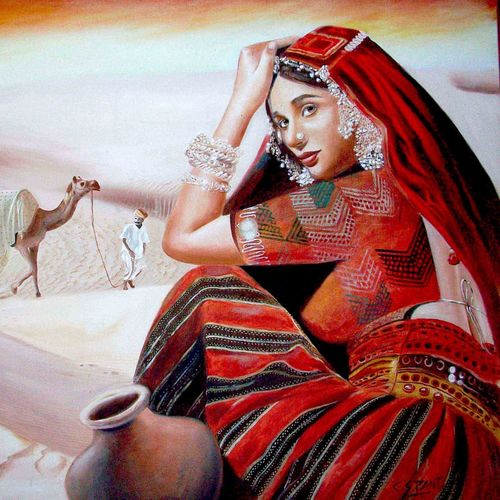 woman in red, 48 x 36 inch, chandrashekhar pant,figurative paintings,modern art paintings,paintings for dining room,paintings for living room,paintings for bedroom,paintings for office,paintings for bathroom,paintings for kids room,paintings for hotel,paintings for kitchen,canvas,oil,48x36inch,GAL0817117582