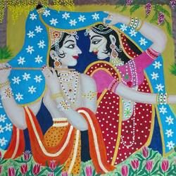 naturally beautiful., 24 x 36 inch, j.k  chhatwal,figurative paintings,radha krishna paintings,canvas,acrylic color,24x36inch,Radhakrishna, love Radhakrishna, couple Radhakrishna, music love,flute,blue,couple,love,lord krishna, religious,nature love,lord radhakrishna,peace,religious,GAL0537817588,krishna,Lord krishna,krushna,radha krushna,flute,peacock feather,melody,peace,religious,god,love,romance
