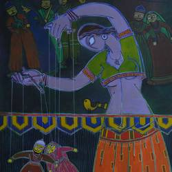 puppets, 46 x 34 inch, santanu nandan dinda,figurative paintings,paintings for bedroom,canvas,acrylic color,46x34inch,GAL07051759