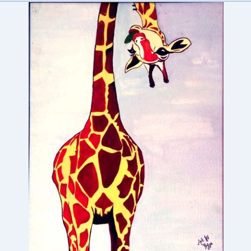 girraffe, 17 x 21 inch, jane d'souza,paintings,wildlife paintings,animal paintings,children paintings,kids paintings,paintings for living room,paintings for kids room,paintings for hotel,paintings for school,paintings for hospital,canvas board,acrylic color,17x21inch,GAL0776917595