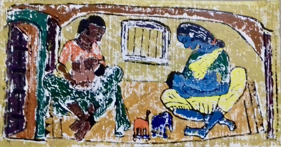 mother & child, 19 x 10 inch, r. d.,figurative paintings,paintings for dining room,paintings for living room,paintings for bedroom,paintings for office,paintings for hotel,paintings for hospital,oil sheet,ink color,wood cut,19x10inch,GAL0755317599