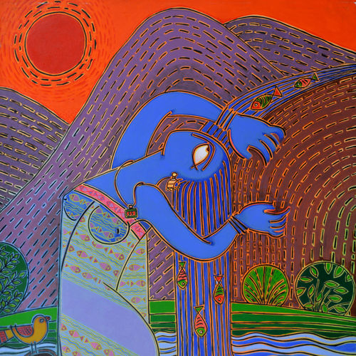 water - fall, 46 x 34 inch, santanu nandan dinda,figurative paintings,paintings for bedroom,canvas,acrylic color,46x34inch,GAL07051760