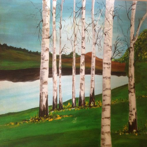 beauty of birch trees, 12 x 16 inch, promila singh,paintings,nature paintings,paintings for living room,paintings for living room,thick paper,acrylic color,12x16inch,GAL0823217600Nature,environment,Beauty,scenery,greenery