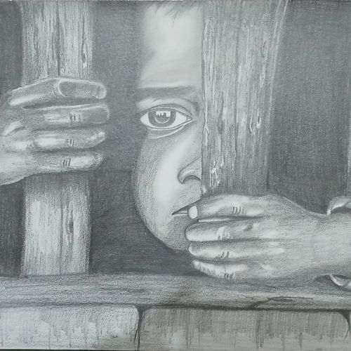 save girl child, 17 x 12 inch, sandhya kumari,drawings,folk drawings,portrait drawings,kids drawings,paintings for dining room,paintings for living room,paintings for bedroom,paintings for office,paintings for kids room,paintings for hotel,paintings for kitchen,paintings for school,paintings for hospital,canson paper,charcoal,graphite pencil,17x12inch,GAL0365917601
