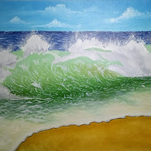 beautiful waves, 36 x 24 inch, hriday  das,paintings,landscape paintings,nature paintings,water fountain paintings,paintings for dining room,paintings for living room,paintings for bedroom,paintings for hotel,canvas,oil,36x24inch,GAL098317602Nature,environment,Beauty,scenery,greenery