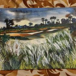 autumn in bengal, 12 x 16 inch, arpita ghosh,paintings,landscape paintings,canvas,acrylic color,12x16inch,GAL0831517605