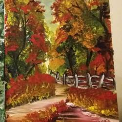 fall, 12 x 16 inch, arpita ghosh,paintings,landscape paintings,canvas,acrylic color,12x16inch,GAL0831517608