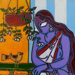 lady with a bird, 12 x 12 inch, santanu nandan dinda,figurative paintings,paintings for bedroom,canvas,acrylic color,12x12inch,GAL07051761