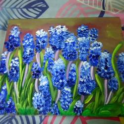 bluebells, 10 x 12 inch, arpita ghosh,paintings,flower paintings,paintings for dining room,paintings for living room,paintings for bedroom,paintings for office,paintings for bathroom,paintings for kids room,paintings for hotel,paintings for kitchen,paintings for school,paintings for hospital,canvas,acrylic color,10x12inch,GAL0831517611