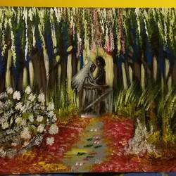 wedding in a forest, 12 x 16 inch, arpita ghosh,paintings,landscape paintings,paintings for dining room,paintings for living room,paintings for bedroom,paintings for hotel,paintings for kitchen,paintings for hospital,canvas,acrylic color,12x16inch,GAL0831517612