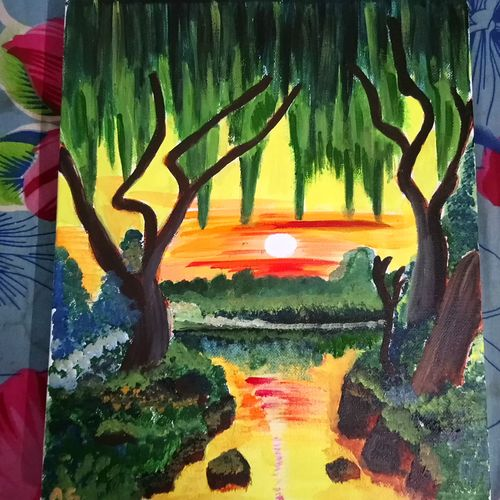 sunrise, 10 x 12 inch, arpita ghosh,paintings,landscape paintings,paintings for dining room,paintings for living room,paintings for bedroom,paintings for office,paintings for bathroom,paintings for kids room,paintings for hotel,paintings for kitchen,paintings for school,paintings for hospital,canvas,acrylic color,10x12inch,GAL0831517613