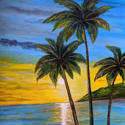 the beauty of  nature, 12 x 16 inch, promila singh,paintings,nature paintings,paintings for living room,paintings for living room,thick paper,acrylic color,12x16inch,GAL0823217616Nature,environment,Beauty,scenery,greenery,trees,water,beautiful,leaves,coconut tree,sun