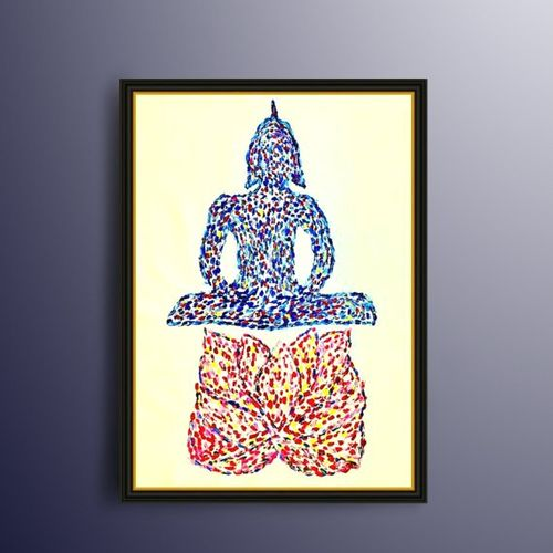 buddha painting, lotus painting, meditation painting, original handmade painting, luxury thick oil paint, 46 x 24 inch, sneha  mehta,buddha paintings,figurative paintings,modern art paintings,paintings for dining room,paintings for living room,paintings for office,paintings for hotel,paintings for dining room,paintings for living room,paintings for office,paintings for hotel,canvas,oil,46x24inch,GAL0715117617