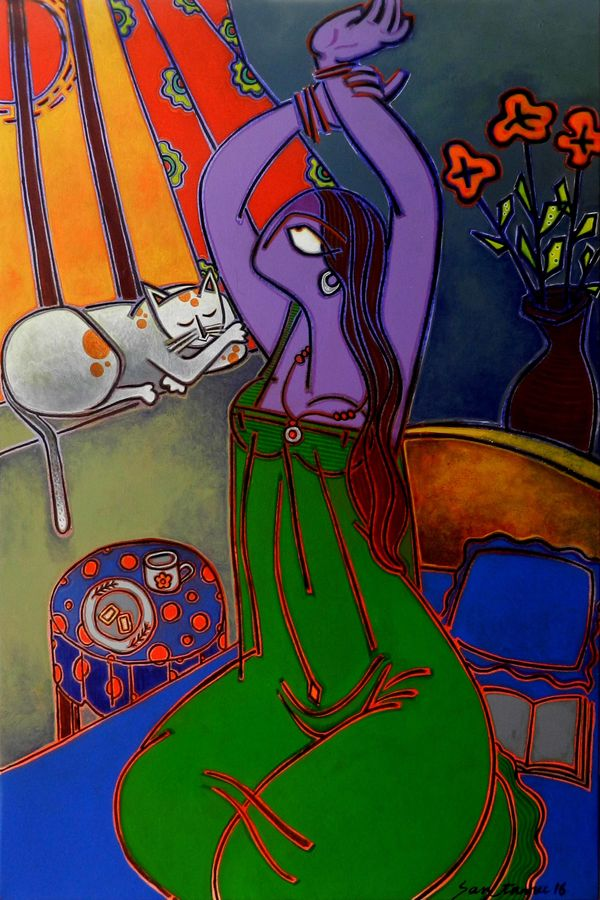 morning tea, 36 x 24 inch, santanu nandan dinda,figurative paintings,paintings for bedroom,canvas,acrylic color,36x24inch,GAL07051762