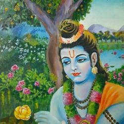 shri ram in garden, 12 x 16 inch, ashutosh  mishra,religious paintings,paintings for living room,canvas,oil,12x16inch,GAL05881763