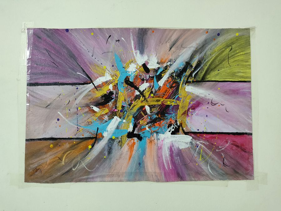 the burst , 18 x 10 inch, swati choudhury,paintings,abstract paintings,paintings for dining room,paintings for living room,paintings for office,paintings for kids room,canvas,acrylic color,18x10inch,GAL0832317630