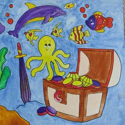 my underwater friends, 10 x 8 inch, swati choudhury,animal paintings,kids paintings,paintings for kids room,canvas,acrylic color,watercolor,10x8inch,GAL0832317632