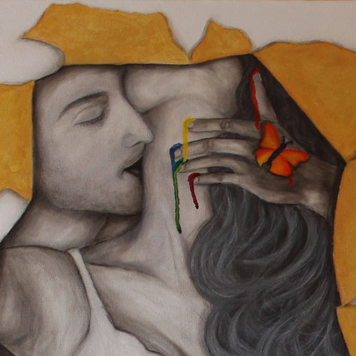 golden moments - melting in his hand, 20 x 30 inch, goutami mishra,paintings,figurative paintings,love paintings,paintings for bedroom,canvas,acrylic color,20x30inch,GAL046517635heart,family,caring,happiness,forever,happy,trust,passion,romance,sweet,kiss,love,hugs,warm,fun,kisses,joy,friendship,marriage,chocolate,husband,wife,forever,caring,couple,sweetheart
