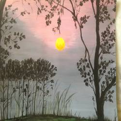 beautiful nature sunset, 11 x 13 inch, promila singh,nature paintings,paintings for bedroom,paintings for bedroom,thick paper,acrylic color,11x13inch,GAL0823217638Nature,environment,Beauty,scenery,greenery