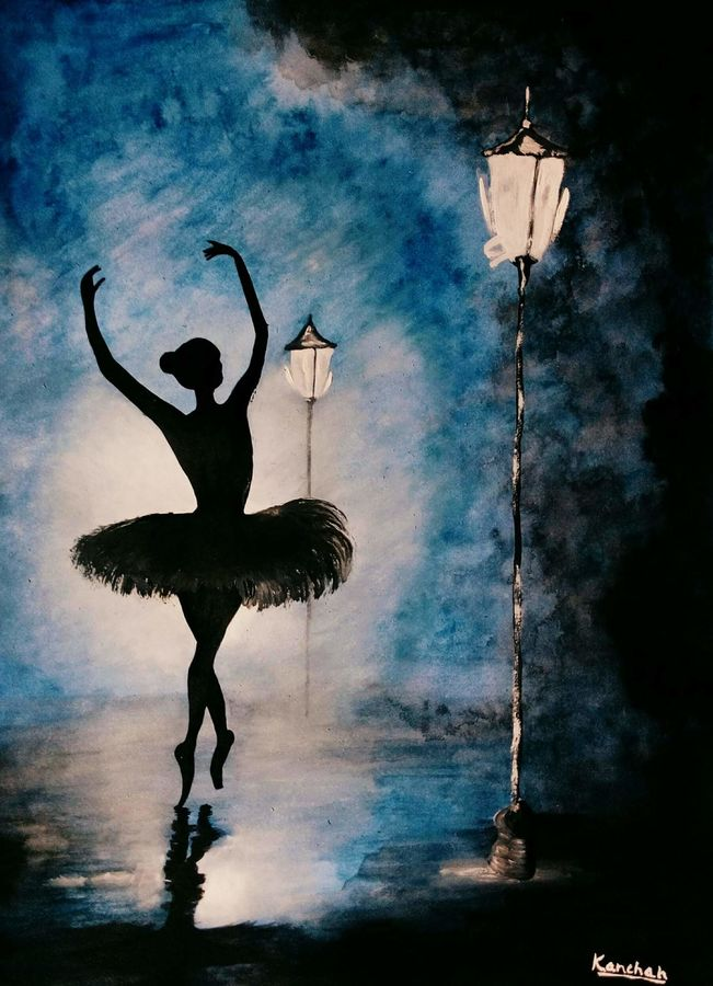 ballet dance painting, 16 x 20 inch, kanchan pandey,paintings,abstract expressionist paintings,paintings for dining room,paintings for living room,paintings for bedroom,paintings for office,paintings for hotel,cartridge paper,acrylic color,watercolor,16x20inch,GAL0485717644
