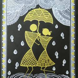 love in rain, 8 x 11 inch, anushree  jain,paintings,warli paintings,miniature painting.,paintings for dining room,paintings for living room,paintings for bedroom,paintings for hotel,thick paper,pen color,8x11inch,GAL0765717654