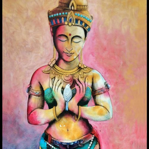 love goddess , 24 x 54 inch, chetna bernela,paintings,figurative paintings,religious paintings,portrait paintings,paintings for living room,paintings for office,paintings for hotel,figurative drawings,canvas,acrylic color,24x54inch,GAL0784517657