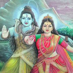 shiv parvati, 24 x 18 inch, chandrashekhar puranik,paintings,figurative paintings,religious paintings,paintings for living room,paintings for bedroom,lord shiva paintings,paintings for dining room,paintings for hotel,canvas,acrylic color,24x18inch,GAL0837117660