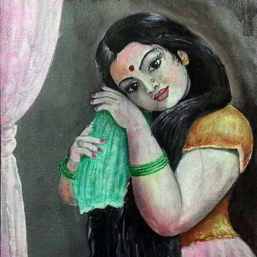 beautiful girl, 12 x 18 inch, chandrashekhar puranik,paintings,figurative paintings,still life paintings,love paintings,paintings for dining room,paintings for living room,paintings for bedroom,paintings for hotel,paintings for dining room,paintings for living room,paintings for bedroom,paintings for hotel,canvas,acrylic color,12x18inch,GAL0837117662