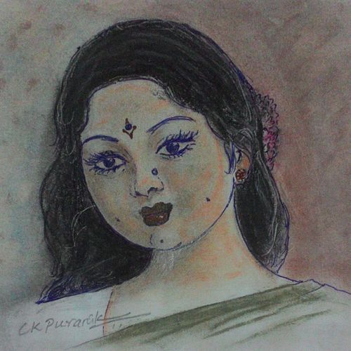 indian beauty, 5 x 4 inch, chandrashekhar puranik,drawings,figurative drawings,fine art drawings,portrait drawings,paintings for dining room,paintings for living room,paintings for bedroom,paintings for office,drawing paper,pastel color,5x4inch,GAL0837117665