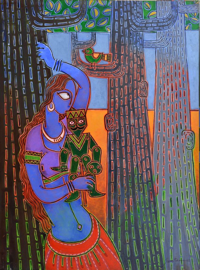 lady with a puppet, 46 x 34 inch, santanu nandan dinda,figurative paintings,paintings for bedroom,canvas,acrylic color,46x34inch,GAL07051767