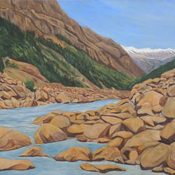 flowing through rocks, 53 x 35 inch, ajay harit,paintings,landscape paintings,nature paintings,realism paintings,paintings for dining room,paintings for living room,paintings for office,paintings for hotel,paintings for school,paintings for hospital,canvas,oil,53x35inch,GAL0199817674Nature,environment,Beauty,scenery,greenery