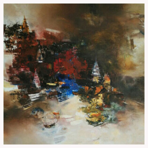 banaras 10'-2016 , 24 x 24 inch, anand narain,abstract paintings,paintings for living room,canvas,oil,24x24inch,GAL07071768