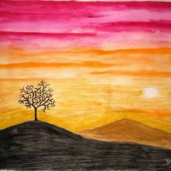 sunset, 12 x 17 inch, pooja  ingawale,paintings,nature paintings,drawing paper,pastel color,watercolor,12x17inch,GAL0702917688Nature,environment,Beauty,scenery,greenery