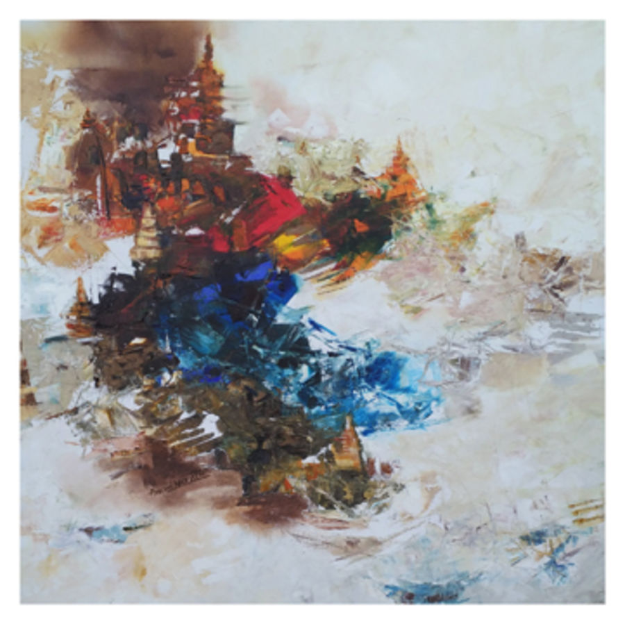 banaras 14-2016, 24 x 24 inch, anand narain,abstract paintings,paintings for bedroom,canvas,oil,24x24inch,GAL07071769