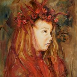 innocent girl with flowers, 32 x 24 inch, saranda xhemajli,paintings,figurative paintings,paintings for dining room,paintings for living room,paintings for bedroom,paintings for office,paintings for hotel,paintings for dining room,paintings for living room,paintings for bedroom,paintings for office,paintings for hotel,canvas,oil,32x24inch,GAL0797517693