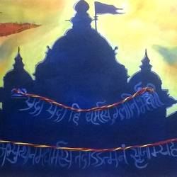 religion, 21 x 48 inch, vaishali  verma ,paintings,religious paintings,paintings for dining room,paintings for living room,paintings for hotel,paintings for school,paintings for hospital,canvas,acrylic color,21x48inch,GAL0789717699