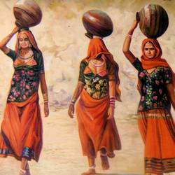 three womens in village, 36 x 24 inch, vishal gurjar,figurative paintings,multi piece paintings,paintings for dining room,paintings for living room,paintings for office,paintings for hotel,paintings for hospital,canvas,acrylic color,oil,36x24inch,rajasthani women